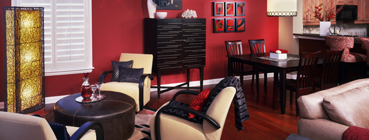 Sherman Williams Red family room with furniture